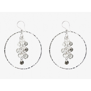Sterling Silver Disc Tassel Hoops