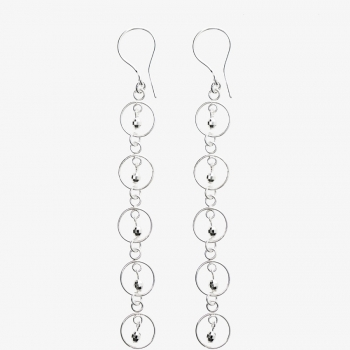 Sparkles 5 Circle Drop Earrings Silver