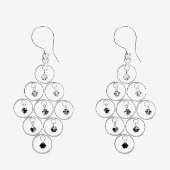 Sparkles Diamond Shaped Multi-Circle Earrings Ash