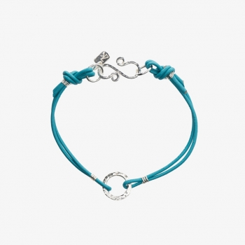 Simply Round Leather Bracelet Turquoise