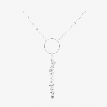 Sterling Silver Disc Tassel Necklace