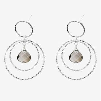 Simply Round Gemstone Double Hoops Smoky Quartz