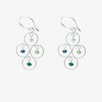 Sparkles 4 Circles Earrings Ocean