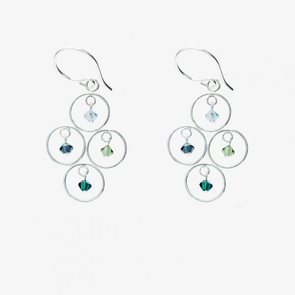 Sparkles 4 Circles Earrings Ocean