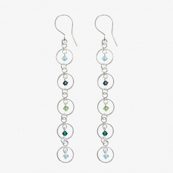 Sparkles 5 Circle Drop Earrings Ocean