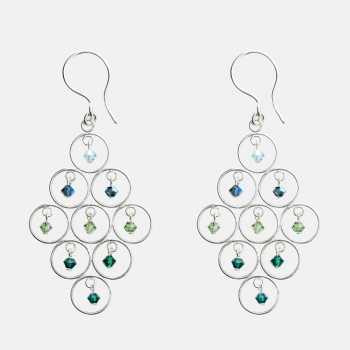 Sparkles Diamond Shaped Multi-Circle Earrings Ocean