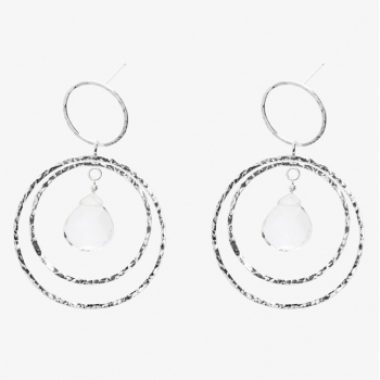 Simply Round Gemstone Double Hoops Crystal Quartz