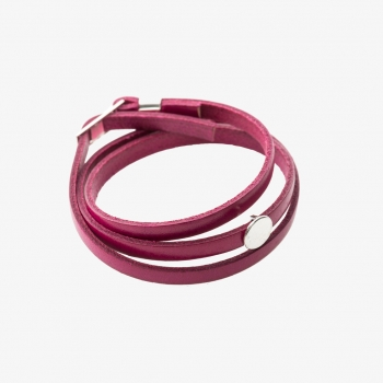 Moon Disc Leather Wrap Bracelet Fucsia