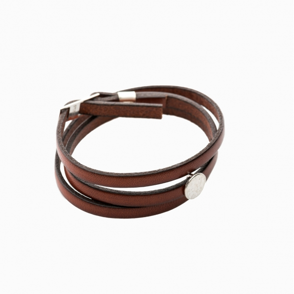 Moon Disc Leather Wrap Bracelet Brown