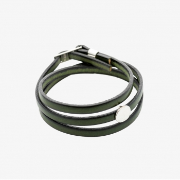 Moon Disc Leather Wrap Bracelet Dark Green