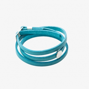 Moon Disc Leather Wrap Bracelet Turquoise