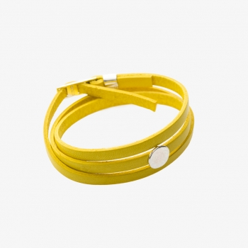 Moon Disc Leather Wrap Bracelet Yellow