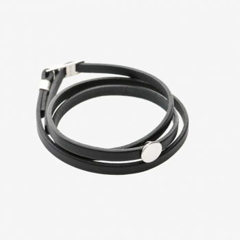 Moon Disc Leather Wrap Bracelet Black